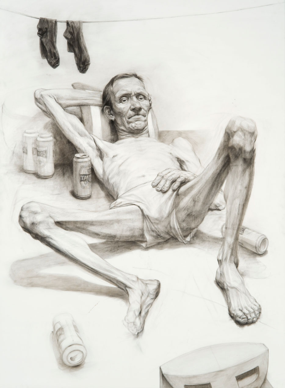 Žygimantas Augustinas, The Highlights of the Day, 2013. Canvas, charcoal, 153x112 cm. From the MO museum collection.
