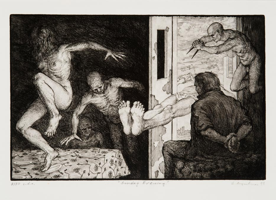 Žygimantas Augustinas, Sunday Evening, 1988. Etching, paper. From the MO Museum collection.
