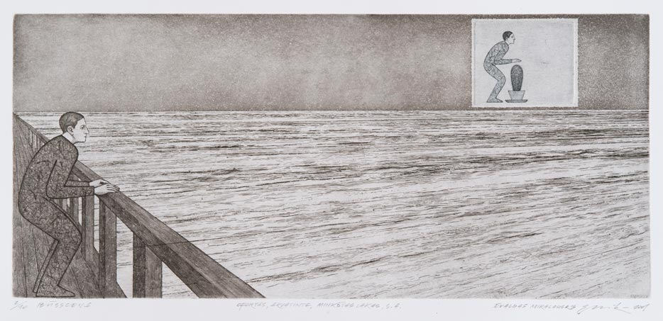 Evaldas Mikalauskis, Būsscenos V, aquatint, soft lacquer, etching, drypoint, 16, 7 x 37, 6, from the MO museum collection.