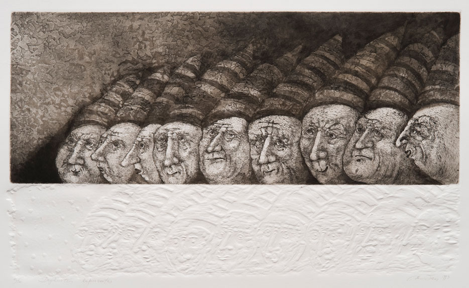 Nijolė Šaltenytė, Striped Caps, 1993. Aquatint, etching, relief printing, 38,5 x 64 cm. From the MO museum collection