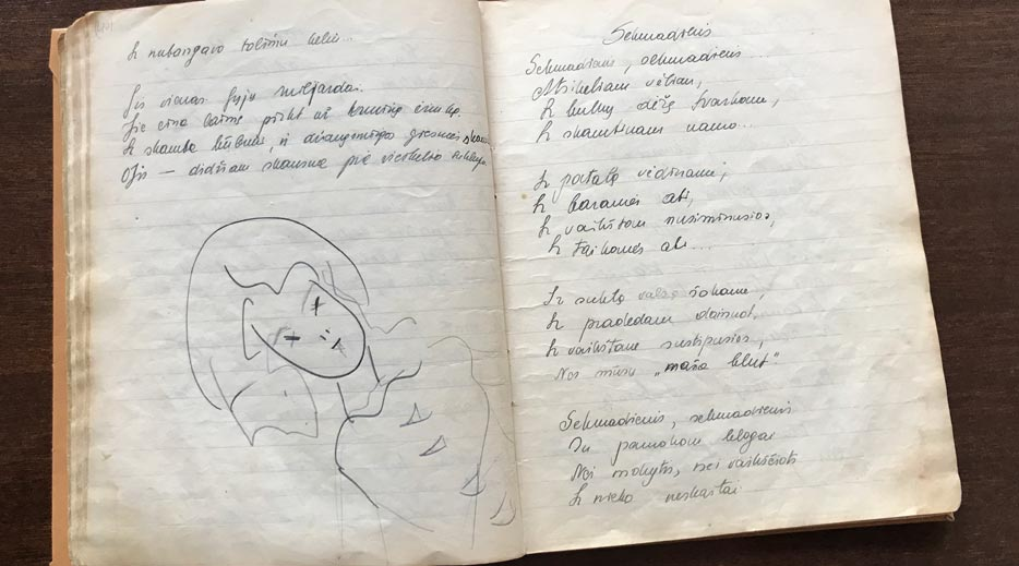 From the poetry notebook of Matilda Olkinaitė. Photo by Laima Vincė