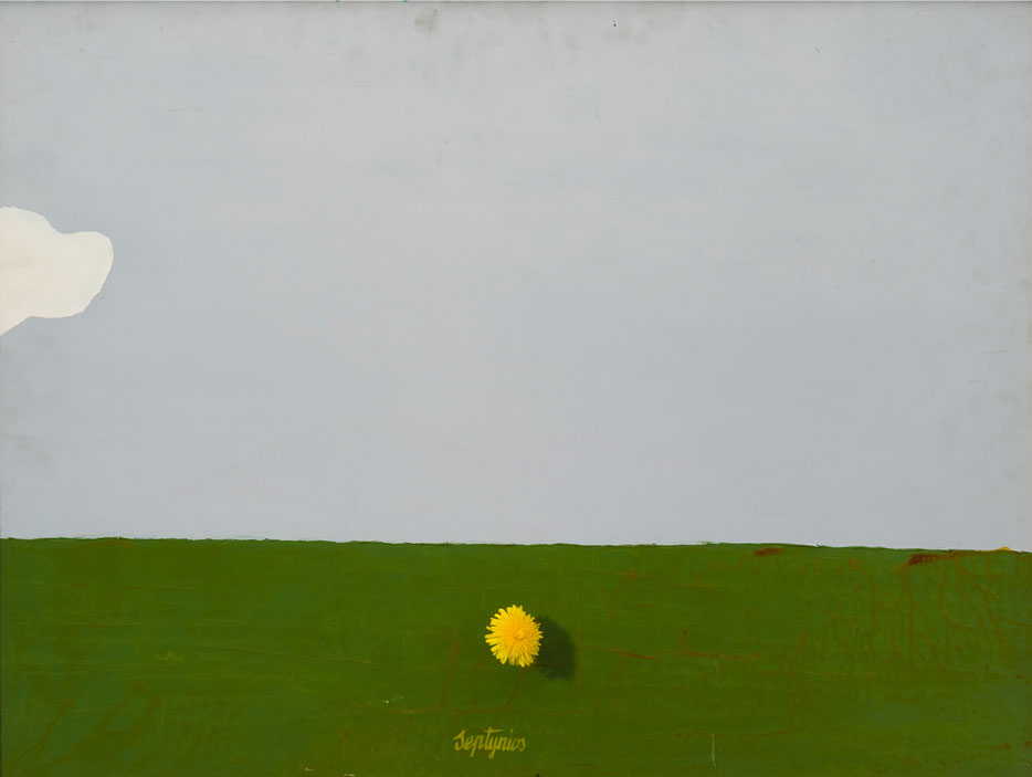 Leonas Linas Katinas, Seven Days in Rusnė or the Blooming of the Dandelions I, 1971. Cardboard, dandelions, oil, 61 x 81,5 cm. From the MO museum collection.