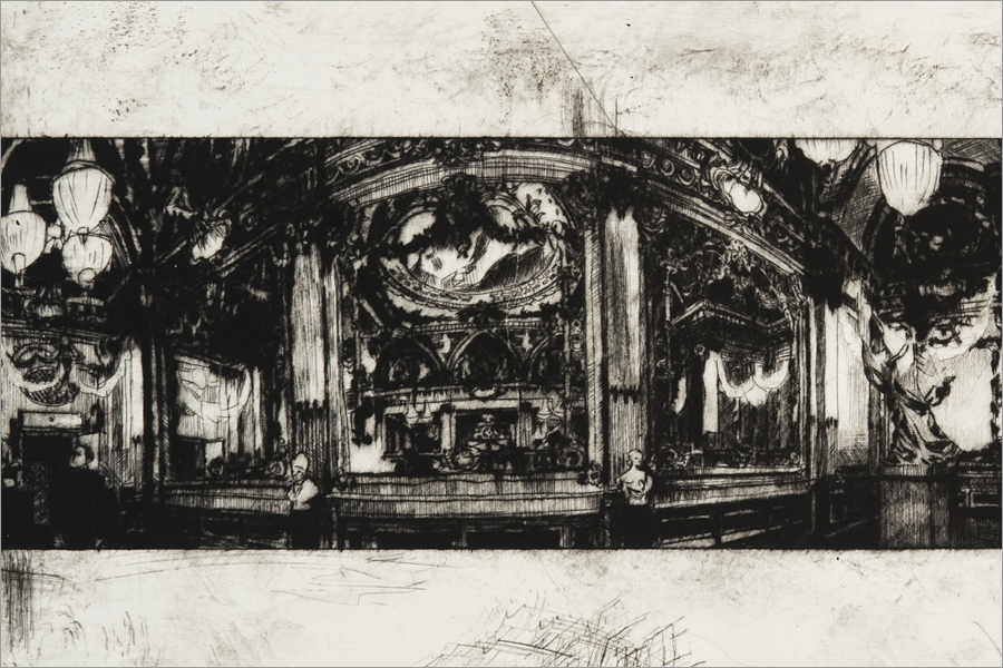"Rūta Spelskytė, Fragment from ""Working angle of mechanism no. 1. Panoramic view of d'Orsay museum Golden Hall"". From the cycle ""Unsuccessful Dialogue"". 2008, drypoint, 20 x 53. From The Modern Art Center collection."