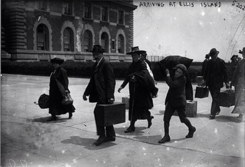 Arriving at Ellis Island. George Grantham Bain Collection (Library of Congress), 1907